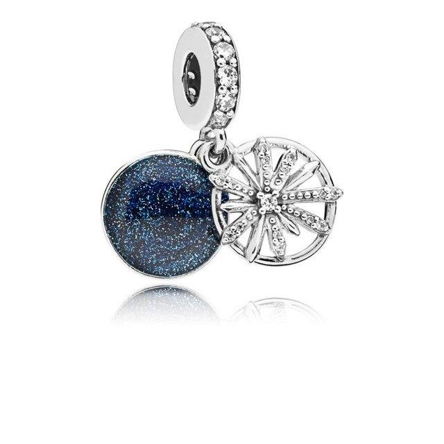 Dazzling Wishes Dangle Silver Charms Clear CZ & Blue Enamel Winter Silver 925 Jewelry For DIY Women Bracelets New Jewelry Making