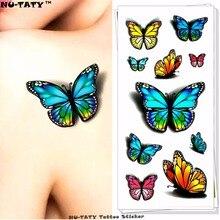 Nu-TATY Sexy Butterfly 3d Temporary Flash Tattoo Body Art Back Sticker 1 Sheet 19x9cm For Selfie EN71 Tatoo