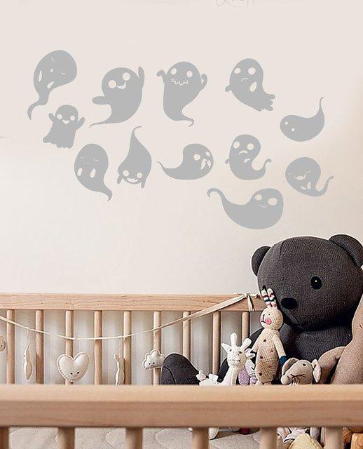 Cute cartoon ghost ghost halloween decoration vinyl wall sticker home childrens room kindergarten nursery window art muralWSJ14
