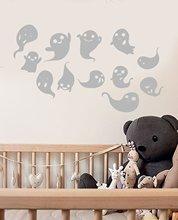 Leuke Cartoon Ghost Ghost Halloween Decoratie Vinyl Muursticker Home Kinderkamer Kleuterschool Nursery Window Art MuralWSJ14