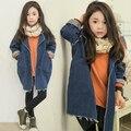 Nuevo 2015 Niñas Otoño Primavera Moda Casual Loose Washed Denim Jacket Niños Ropa Femenina Niños Larga Trinchera Abrigo prendas de Vestir Exteriores G87