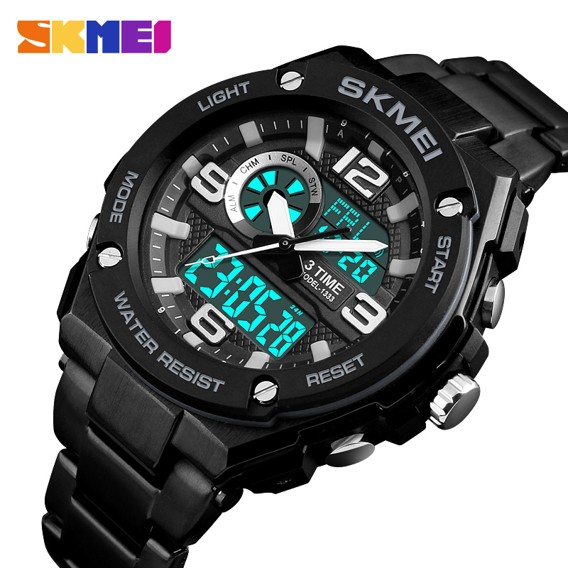 SKMEI Male Sports Watches Fashion Mens Watches Top Brand Luxury Digital Quartz Clock Stainless Steel Waterproof Men Wrist Watch цена