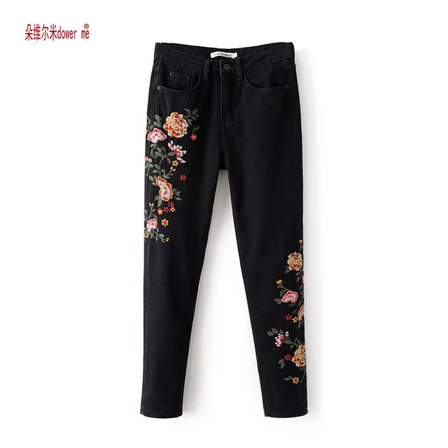 Embroidery High Waist Jeans Women 2017 Fashion Straight Denim Embroidered Jeans Woman Pants
