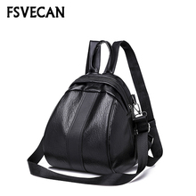 2019 Casual Female Small Backpack women High Quality Soft Leather School Teenager Girls Travel Shoulder Bag Light Mini Backpacks