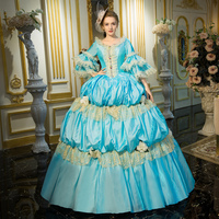 2018 aqua blue Lace Dance 18th Century Queen Victorian Period Party Dress Marie Antoinette Ball Gown For Women