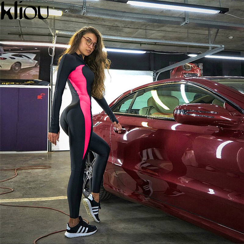 Kliou Fluorescent Color Patchwork Female Push Up Fitness Jumpsuits Autumn Winter Women Full Sleeve Zipper Turtneck Jumpsuit #3