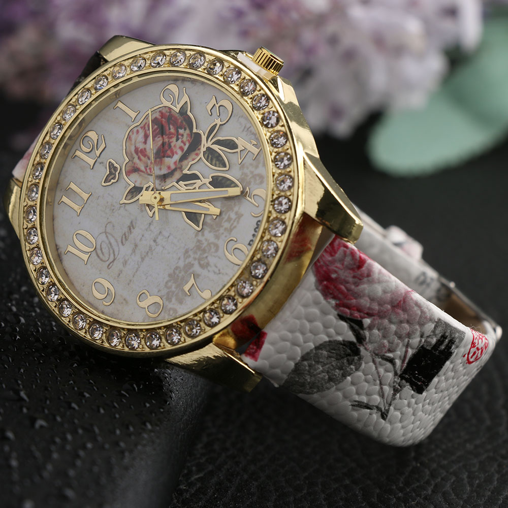 1 PC New Brand Casual Female Relogio Leather Rose Flower Watch Diamond Women Rhinestone Dress Quartz Wristwatches