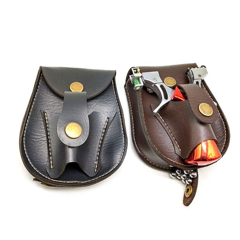 Handmade Leather 2 In 1 Hunting Slingshot Catapult Steel Balls Bearings Bag Pouch Case Holder