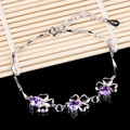 Fashion Sliver Plated Happiness Clover Bracelets Amethyst Chain Bracelets Fresh Style Jewelry for Women Girls Gift