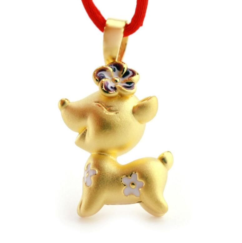 Fine 999 24K Yellow Gold 3D Cute Lucky Flower Sika Deer Pendant / 2.5gFine 999 24K Yellow Gold 3D Cute Lucky Flower Sika Deer Pendant / 2.5g