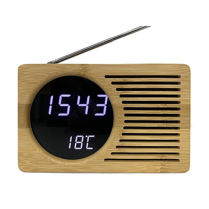 LED en bois réveil avec miroir température calendrier thermomètre montre réveil maison décoration Snooze horloge de Table 3DNZY01