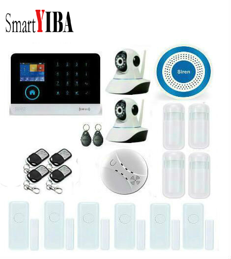 SmartYIBA WIFI 3G DIY Smart Home Security Alarm System RFID Control Kit With 2pcs Network IP Cameras Wireless Smoke/Fire Alarm