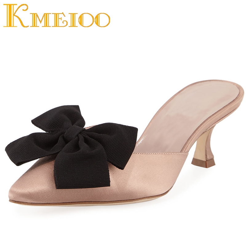 d923f27cb695b Kmeioo Mules Sandals Women Pumps Pointed Toe Kitten Heels Butterfly Loafers  Slip On Casual Shoes Woman Pink Navy Med H