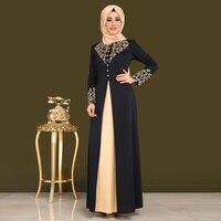 2019 New Design Elegant Muslim Robe Women Dubai kaftan Dress Casual Arabic Lace Cardigain Patchwork turkey Islam Prayer dresses
