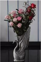 European middle size swan shape retro metal tabletop decorative vase flower vases for homes vases decoratives HP023