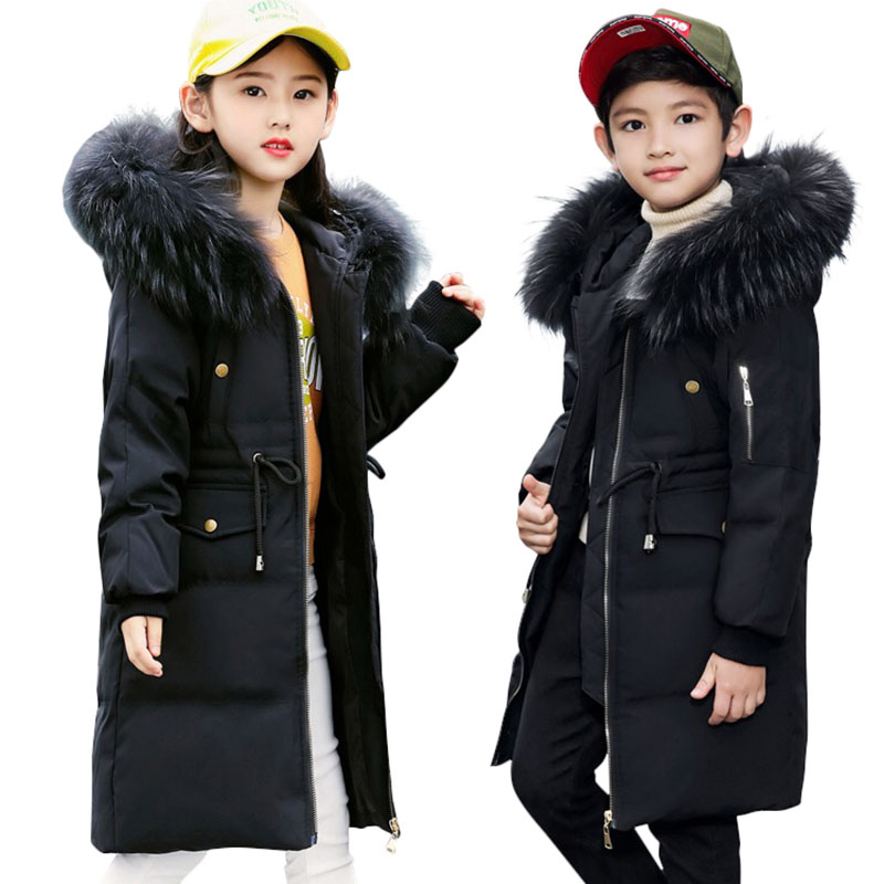 -30 Degree Girls Thick Warm Down Jackets Winter Boys Duck Down Coats Children Big Fur Hooded Long Outerwear 5 6 8 10 12 14 Years thick warm down jackets 30 degree winter black boys duck down coats children natural fur long outerwear kids hooded clothes