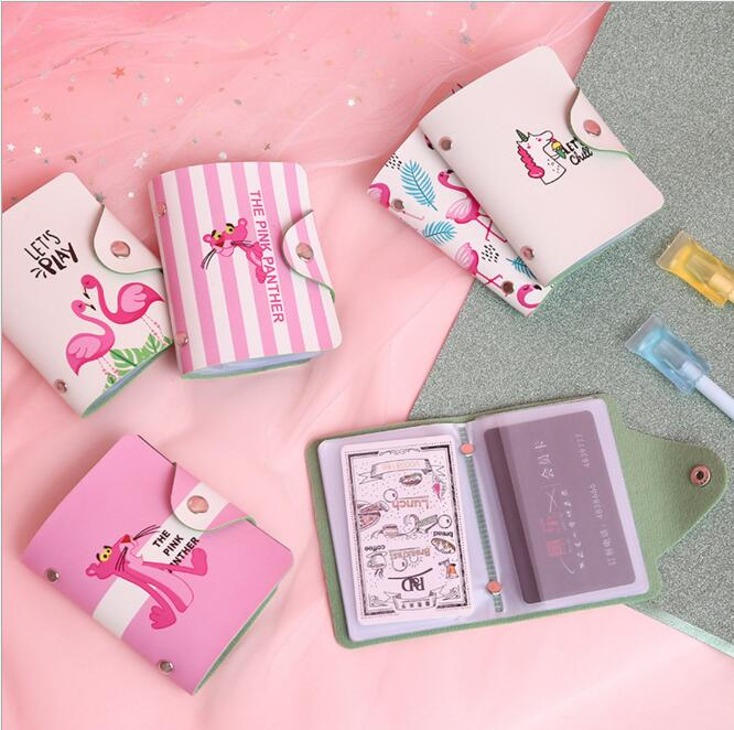 Pretty Flamingo PU Leather Credit Card Holder Renault Key Card Cover Identity Card Cover Case Holder Stationery Birthday Gift