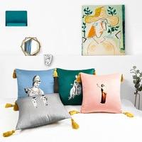 Home Decorative Sofa Throw Pillows Vintage Nordic statue velvet sofa bed tassel hug pillowcase cushion set pillow 45cmX45cm