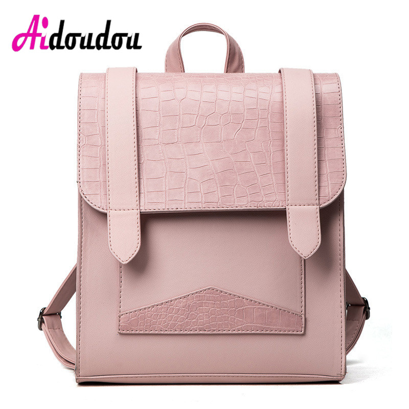 Backpacks For Teenagers Girls Women Backpack Leather School Bag High Quality Backpack Female Students bookbag Crocodile стоимость