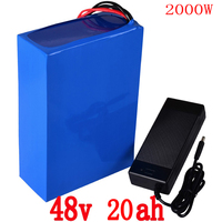 48V battery 48V 20AH electric bicycle battery 48v 20ah lithium ion battery 48V 1000W 2000W battery with 54.6V 2A charger