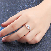 Style The European And American Fashion Accessories Geometric Opal Ring Female Blue Eyes Ring S925 Silver