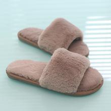 2018 Women Fur Slippers Winter Flat Shoes Woman Plus Size Home Slipper Plush Pantufa Women House Terlik Warm Fluffy Flip Flops