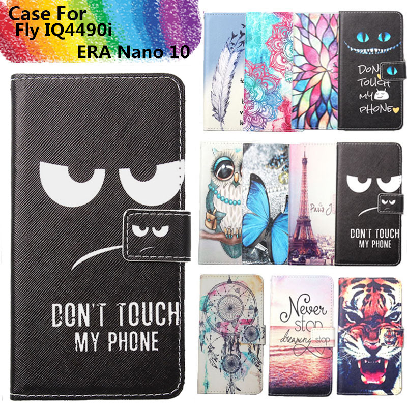 Fashion 11 Colors Cartoon Painting PU Leather Magnetic clasp Wallet Cover For Fly IQ4490i ERA Nano 10 Case