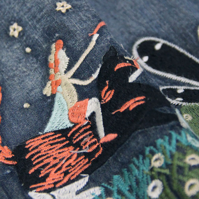 Jeans mollet Fendue Mi Longue Robes Vintage Mode Été Bleu Gaine Courroie Femmes De Robe Broderie Filles A0106 Denim n8m0vNw