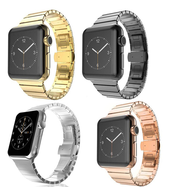 1d3bcad24a192 Correa de acero inoxidable para iWatch Apple Watch 38mm 42mm pulsera de pulsera  enlace negro Rosa