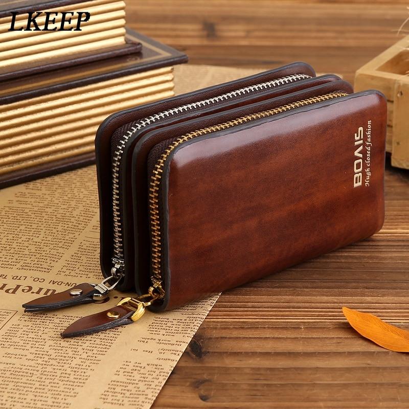 Leather Case Key Holder Men/Women Key Wallet Coin Purse Multifunction Fashion Housekeeper Key Bag Organizer