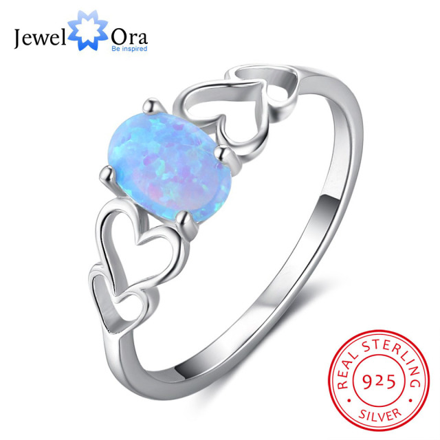 Heart Design Blue Opal Engagement Ring Accessorise 100% 925 Sterling Silver Ring