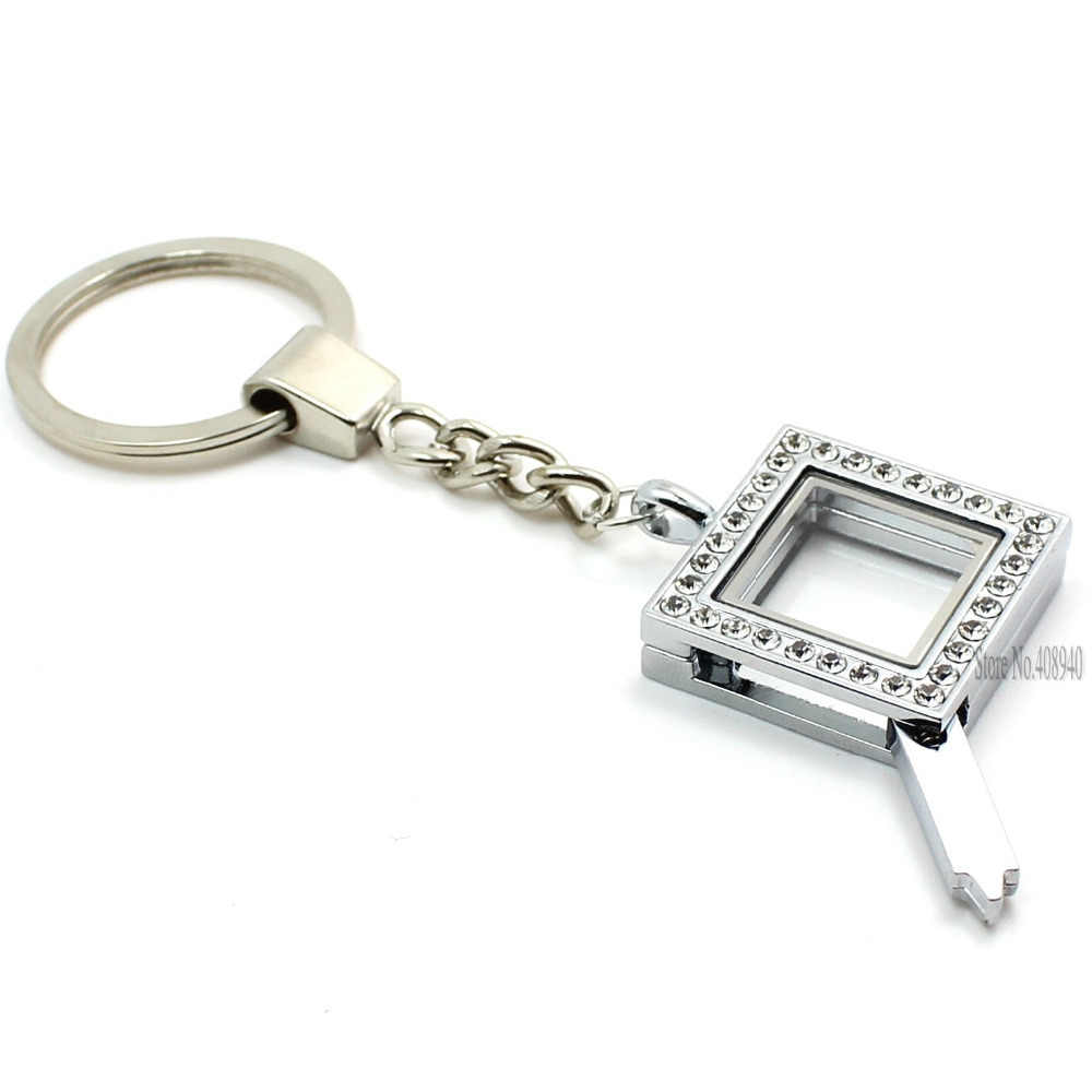 2016 nowość!!! 30mm srebrny kwadrat szkło magnetyczne medalion breloki pływający urok medalion ze stopu cynku LSFK09