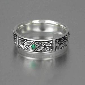 Huitan Unisex Ring Fahion Leaves Design With Tiny Green CZ Middle Group Gift For Girls&Boys Vintage Plain Ring Band Hot Selling(China)