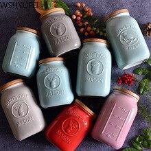 Underglaze трехмерная рельефная керамическая емкость банки с крышками чайные конфеты печенье контейнер для еды банки домашние аксессуары WSHYUFEI