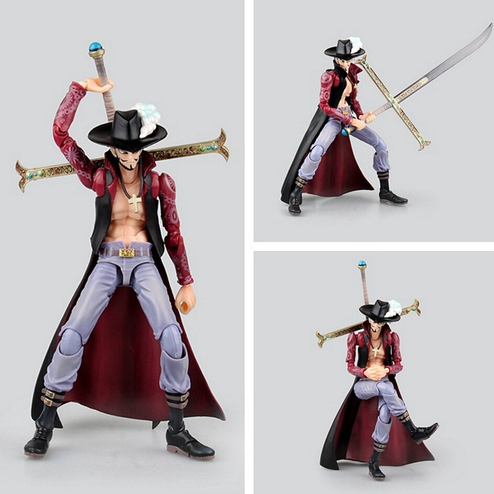 One Piece Dracule Mihawk PVC Action Figure Zoro Model Toys 20cm anime one piece zoro and dracula mihawk model garage kit pvc aaction figure classic variable action toy doll