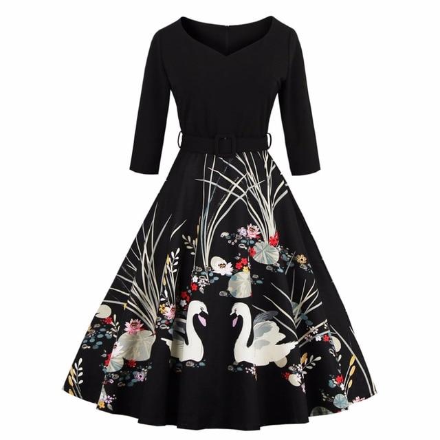 Elegant Spring Summer Swan Print 50s Vintage Dress V Neck High Waist Belts Zipper Swing Party Retro Feminino Vestidos