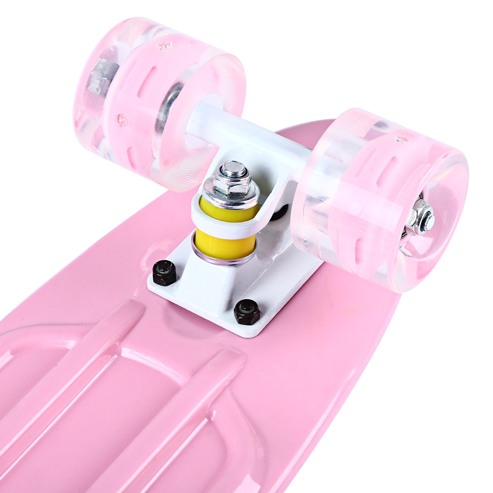 Mini planche à roulettes de poisson de couleur Pastel de Longboard de Style banane de croiseur de 22 pouces avec des roues clignotantes de LED - 4