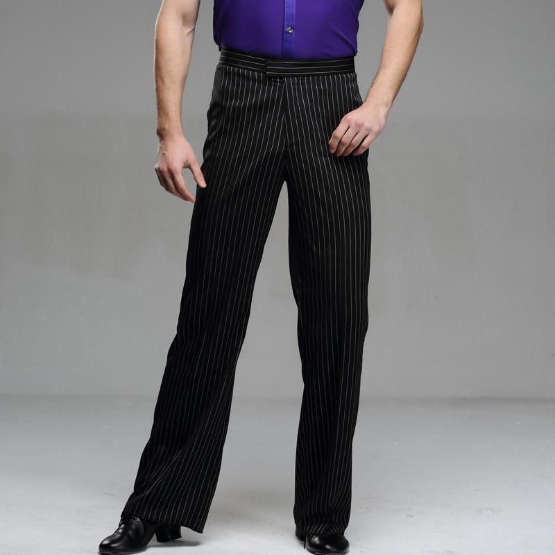 Men's Latin Dance Pants Classic Stripes Modern Dance Trousers Black Striped Male Ballroom Dance Pants Modern Dancing Wear B-6978