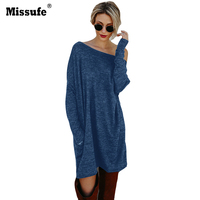 Missufe Winter Dress For Women Casual Clothes Knitted Tunic Pencil Christmas Dress Female With Pocket 2017