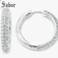 Creole Large Hinged Hoop Big Earrings,Cubic Zirconia Wedding Jewelry White Hyperbole 925 Sterling Silver Gift For Women thomas