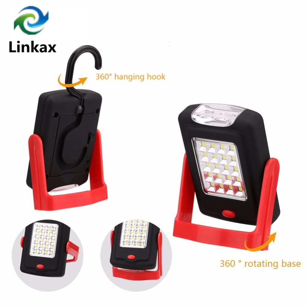 New Portable 23 LEDs 2 Modes LED Work Flashlight Lamp With Magnetic Folding Hook Hanging Torch For Camping AAA