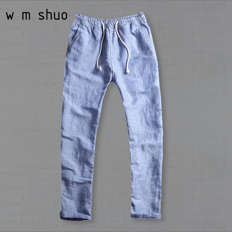 33258101ddce WMSHUO 2017 Men s Summer Casual Pants Natural Cotton Linen Trousers White  Linen Elastic Waist Straight Pants Y026