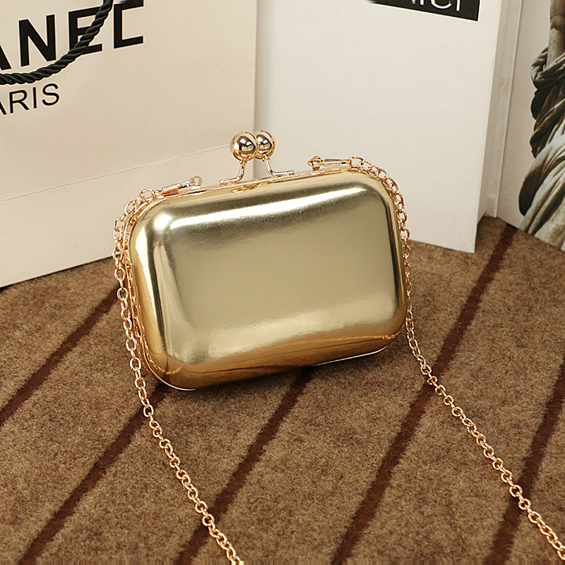 NEW Golden Evening Clutch Bag Women Bags for Wedding party pu leather Handbags Bridal Metal chain Clutches handBags small MN1398
