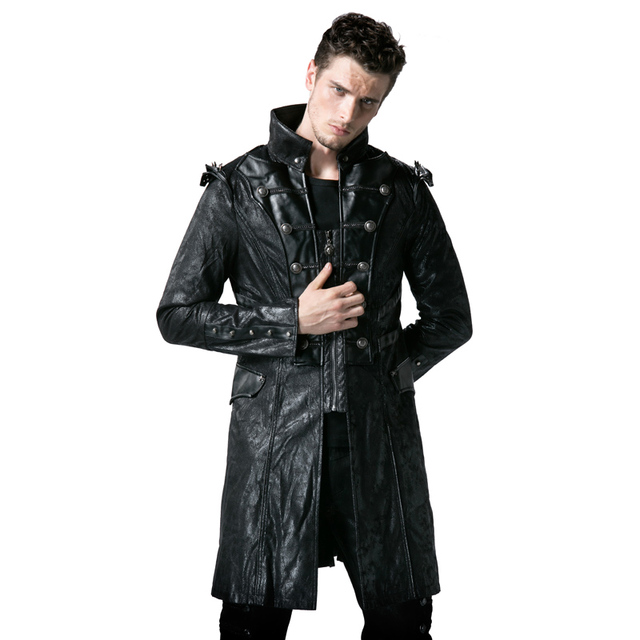 official photos 28945 92233 US $112.0 |Steampunk Faux Leather uomo Esercito Uniforme Giacche Lunghe  Gotico Collare Del Basamento Nero Cappotti Casual Punk Vento Giacche in ...
