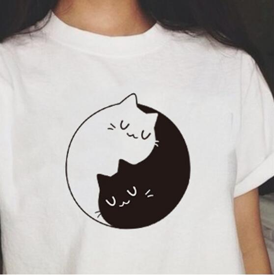 New summer Kittens T Shirt Tai chi black and white Cats T Shirt Cotton Short Sleeve Funny Tee Shirts For Harajuku Tops in T Shirts from Women 39 s Clothing