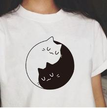 New summer Kittens T-Shirt Tai chi black and white Cats T Shirt Cotton Short Sleeve Funny Tee Shirts For Harajuku Tops