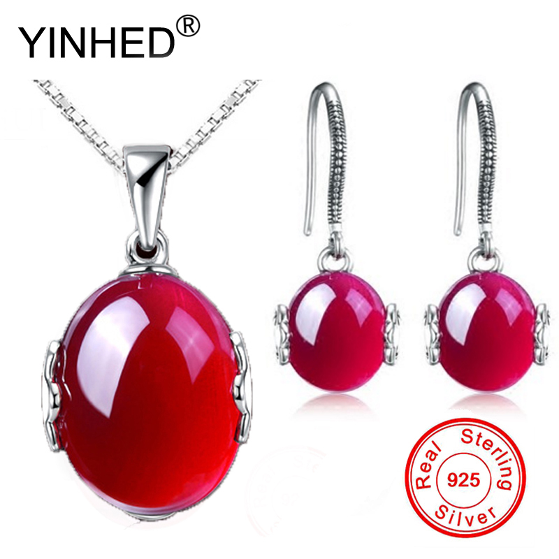 YINHED Luxury Natural Rubis Bridal Engagement Jewelry Sets Genuine 925 Silver Red Gem Stone Pendant Necklace Drop Earrings PS002