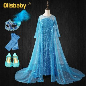 Платье Снежной королевы, платье Эльзы с длинным рукавом, синее, расшитое блестками платье Эльзы для девочек, великолепные элегантные платья...