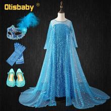 5680f1a8f ملكة الثلج الأميرة إلسا اللباس الأطفال طويل الأكمام الأزرق مطرزة إلزا  اللباس الفتيات رائع أنيقة ذيل طويل فساتين الزفاف