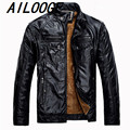 2016 New Arrival Winter Men Casual High Quality Thickened Warm PU Leather Slim Fit Jacket